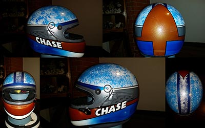 chase airbrush painted auto racing helmet